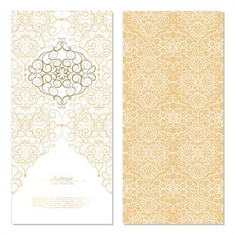Arabesque elemento oriental abstracto blanco y fondo dorado tarjeta