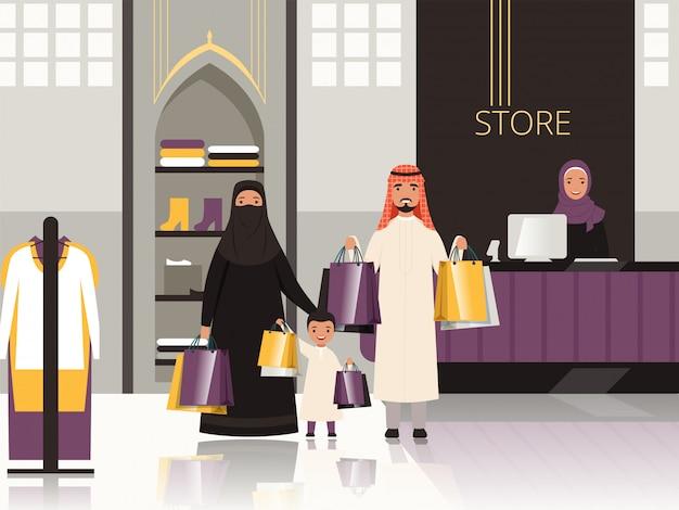 Arabia en el mercado. caja árabe de la familia en la tienda de comestibles o supermercado pagar dinero por dibujos animados de alimentos