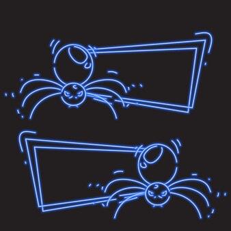 Araña en bandera de neón azul