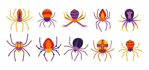 Araña conjunto de dibujos animados de halloween espeluznante aterrador arañas tarántula plano espeluznante peligroso