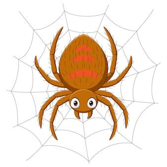 Araña de dibujos animados en la telaraña