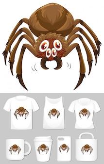 Araña en diferentes tipos de plantilla de producto