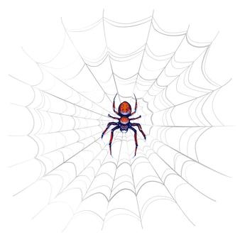 Araña exótica de peligro con manchas rojas en una web complicada en blanco