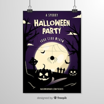 Araña frente a una plantilla de póster de halloween de luna llena