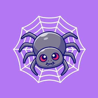 Araña linda con la ilustración de dibujos animados de red. concepto de naturaleza animal aislado. estilo de dibujos animados plana