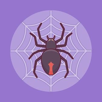 Araña negra en la web en estilo de línea plana. elemento de halloween