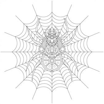 Araña steampunk ilustración estilo lineal