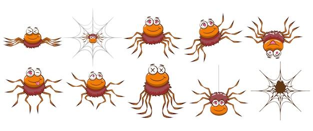 Araña vector set diseño de imágenes prediseñadas