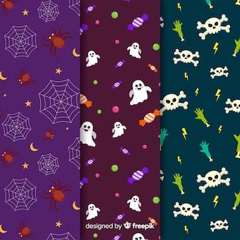 Arañas y esqueleto plano colección de patrones de halloween