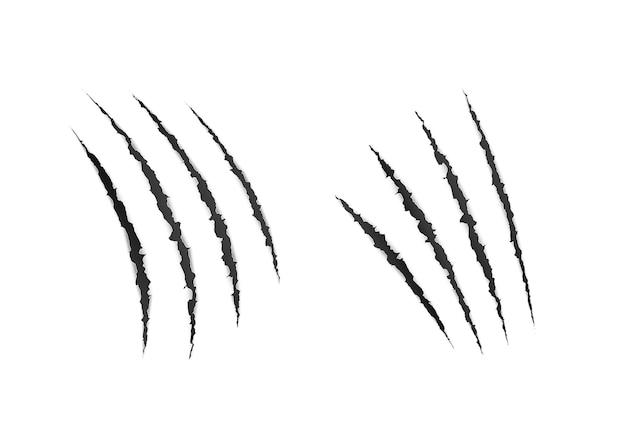 Arañazos de garras de animales salvajes. superficie de papel de laceración aterradora. ilustración vectorial
