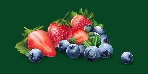 Arándanos y fresas