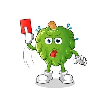 Árbitro de alcachofa con ilustración de tarjeta roja. personaje