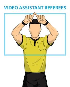 El árbitro de fútbol muestra la acción de los árbitros asistentes de video.