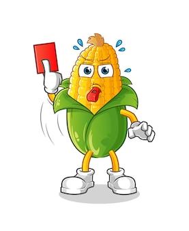Árbitro de maíz con ilustración de tarjeta roja. personaje