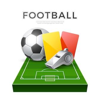 Árbitro realista silbato tarjetas rojas amarillas y pelota en el patio de juegos de fútbol 3d