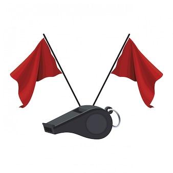 Arbitro silbato y banderas.