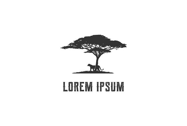 Árbol de acacia africana con tigre, jaguar, leopardo, guepardo, puma, pantera, silueta, para, safari, aventura, logotipo, diseño, vector