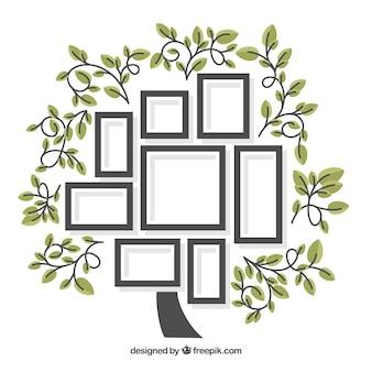 Árbol adorable de diseño plano con marcos de fotos