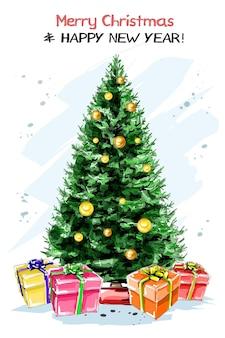 Árbol de año nuevo con cajas de regalo.