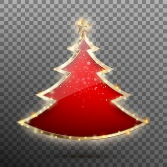 Árbol de año nuevo rojo de cristal y estrellas.