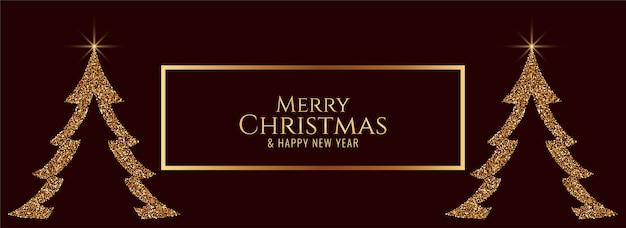 Árbol de brillos abstractos feliz navidad elegante banner