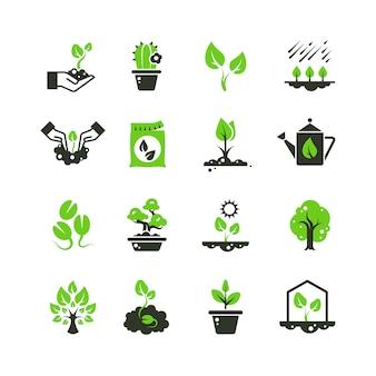Árbol de brotes e iconos de plantas. pictogramas de siembra y siembra a mano.