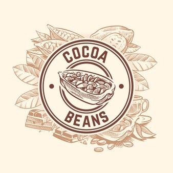 Árbol de cacao en grano. insignia de bosquejo de cacao de chocolate