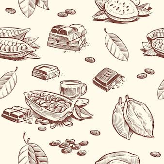 Árbol de cacao, granos de chocolate sin patrón