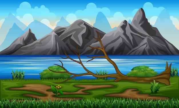 Árbol caído en una ilustración de la orilla del río