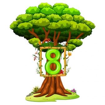 Un árbol con una cifra del número ocho sobre un fondo blanco