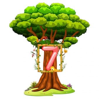 Un árbol con una cifra del número siete sobre un fondo blanco