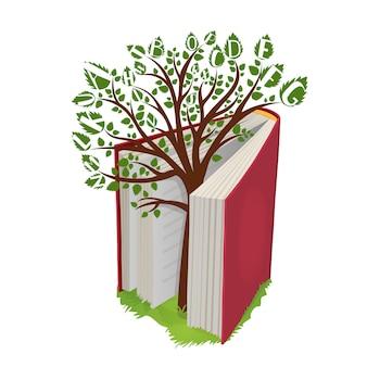 Árbol del conocimiento con letras de libro abierto.
