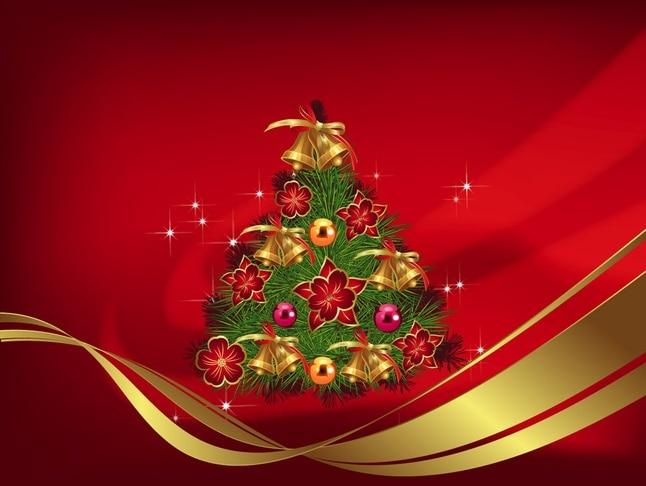 Campanas Navidad En Fondo Rojo