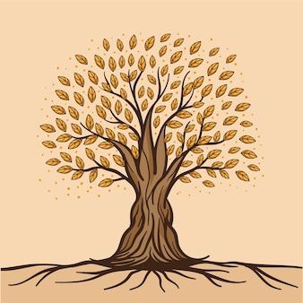 Árbol dibujado a mano con hojas y raíces.