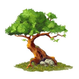 Árbol de dibujos animados lindo sobre hierba, elemento de arte del juego