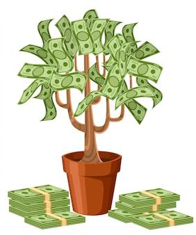 Árbol del dinero. billetes en efectivo verde. árbol en maceta de cerámica. ilustración sobre fondo blanco. página del sitio web y aplicación móvil