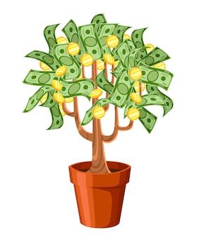 Árbol del dinero. billetes en efectivo verde con monedas de oro. árbol en maceta de cerámica. ilustración sobre fondo blanco. página del sitio web y aplicación móvil.
