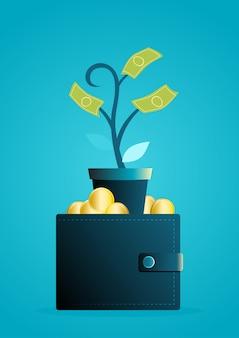 El árbol del dinero crece de la billetera