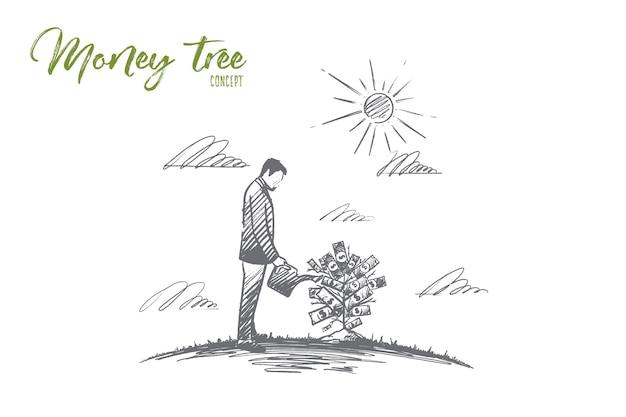 Árbol del dinero. dibujado a mano creciente árbol del dinero. un hombre que riega la ilustración aislada del árbol del dinero.