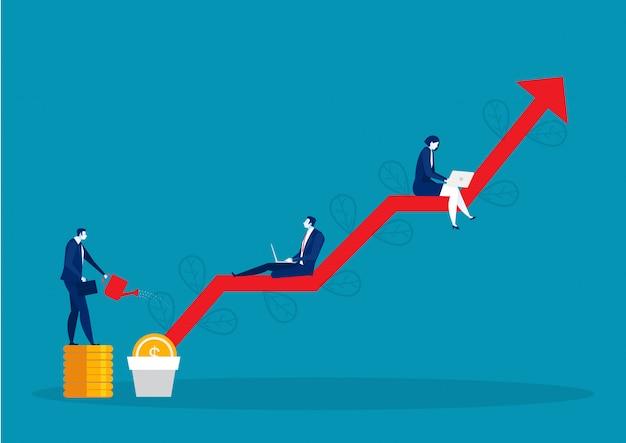 Árbol de dinero de riego empresarial, ganar dinero. gráficos y flechas