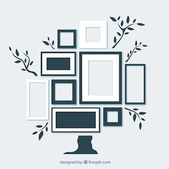 árbol de diseño plano con marcos de fotos en la pared