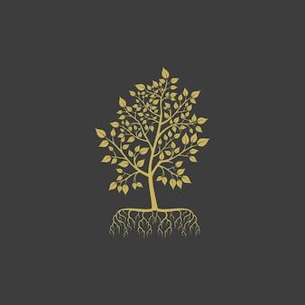 Árbol dorado con hojas y raíces.