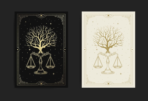 Árbol con escala de justicia o símbolo de equilibrio también conocido como signo de la constelación de libra