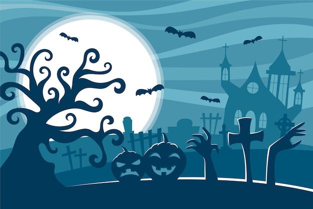 Árbol espeluznante en el fondo de halloween de noche