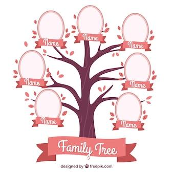 Árbol de familia decorativo en tonos rosas