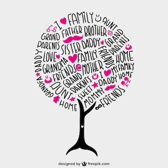 Árbol de familia con letras vector gratuito