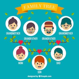 Árbol de familia plano con corazones y hojas decorativas