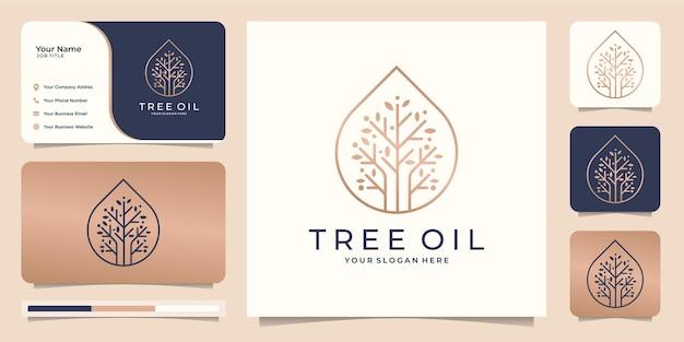 Árbol femenino y moderno con gota de aceite.