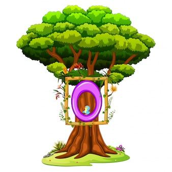 Un árbol con una figura del número cero sobre un fondo blanco.