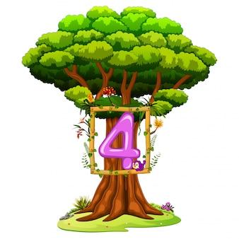 Un árbol con una figura del número cuatro sobre un fondo blanco